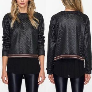 NWOT Koral Black Quilted Luxe Sweatshirt